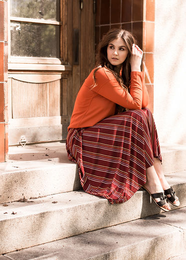 SOFIA Skirt, Stripes Syrah