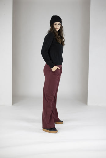 LOGAN wide pants , Chocolate Truffle, inner length 75cm