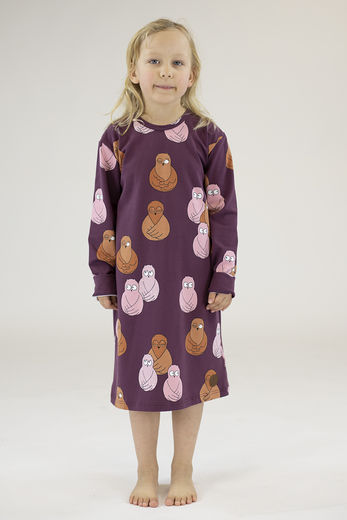 LONG NIGHT DRESS, OWL RED