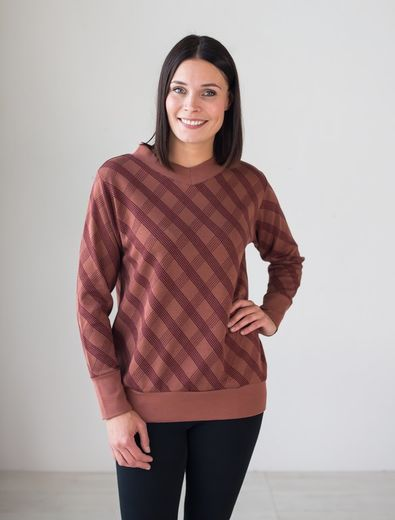 GDANSK Knitted Shirt,  Check Brown