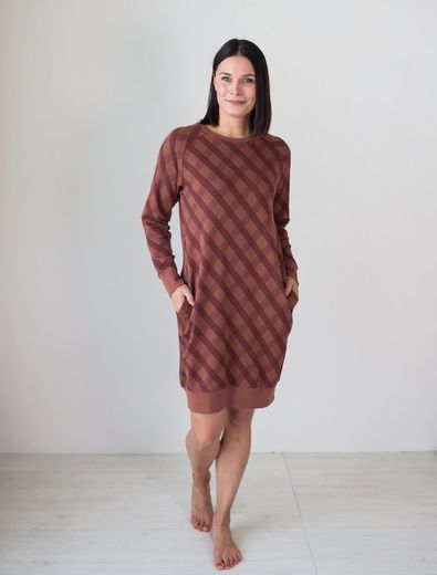 PHILADELPHIA Knitted Tunic, Check Brown