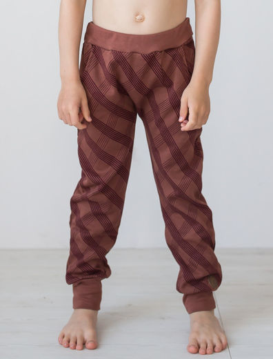 Valletta Knitted Pants, Check Brown